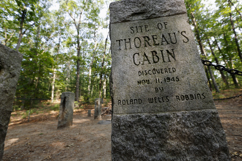 Stone pillars delineate the actual site of Henry David Thoreau's cabin on the shores of Walden Pond in Concord, Mass. He made three journeys to northern Maine, too.
