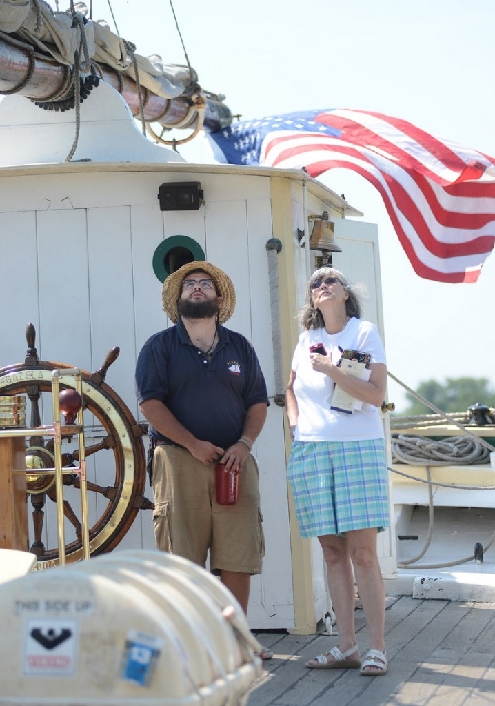 Patricia Caton of Bath looks up at the mast of the Gazela Primeiro. Deckhand Chuck Savoy was there to answer questions about the ship, which was built in 1832 and rebuilt in 1900. The Gazela is next headed to Halifax, Nova Scotia.