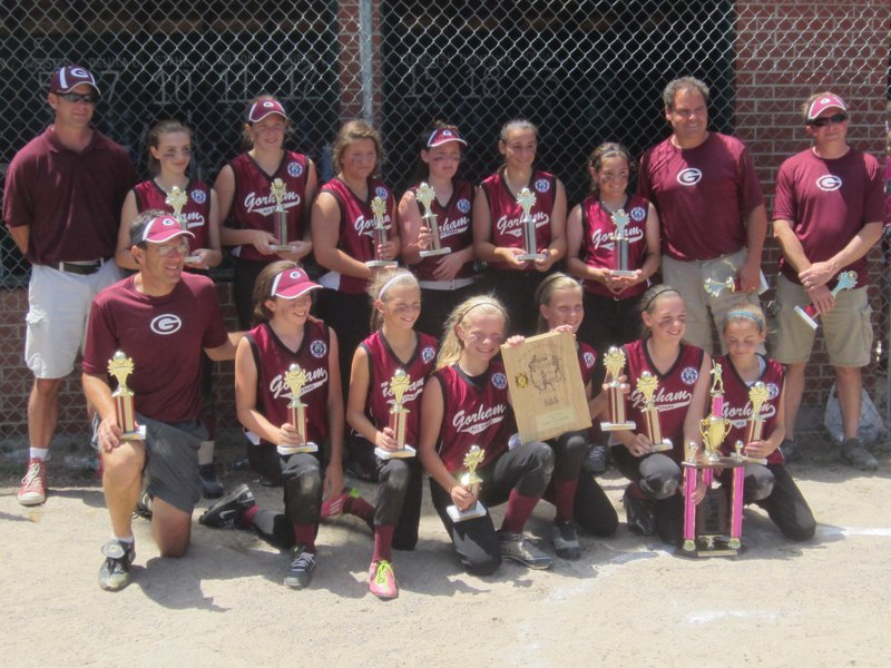 The Gorham Babe Ruth softball team recently won the U12 state championship, and will compete in the New England Regional. Front row, left to right: Coach Tony Esposito, Emily Murray, Hallie Shiers, Grace McGouldrick, Bridget Rossignol, Erica Thibeault and Caroline Smith. Back row: Manager Phil McGouldrick, Carli Labrecque, Emily Esposito, Audrey Perrault, Michelle Rowe, Noelle Dibiase, Isabella Santoro, and coaches Chris Smith and Rich Murray.