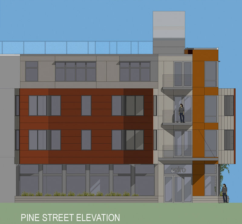 An architect's rendering shows a four-story, mixed-use building Redfern Properties of Portland is proposing in the West End. Approvals are being sought, notably from the city's Historic Preservation Board for demolition of a 1850s Cape Cod at 183 Brackett St.