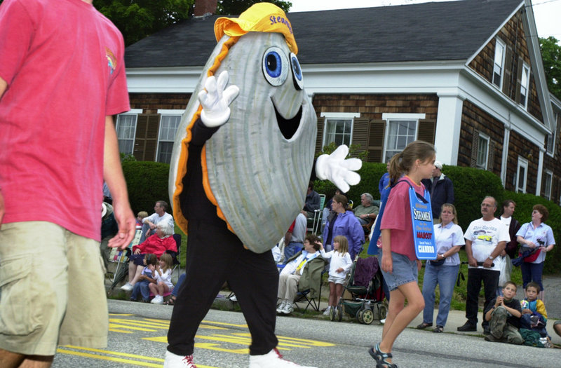 Steamer, the festival mascot, marching in the parade