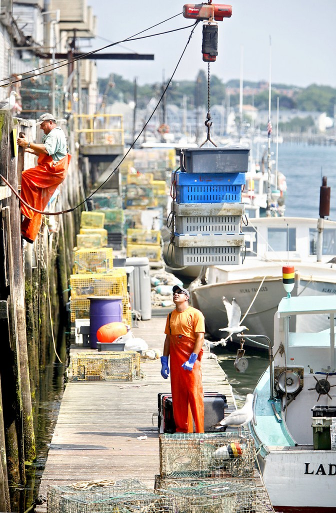 Lobsterman Eric Pray watches Tuesday as four crates of lobster are lifted from the dock to Harbor Fish Market while Pray's father, Peter, climbs a ladder to the market in Portland.