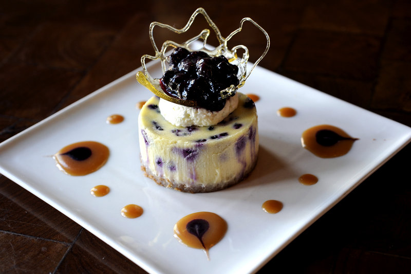 Pastry chef Emily DeLois created this Wild Maine Blueberry and Lemon Mascarpone Cheesecake, one of the recipes for this summer's healthy crop of Maine blueberries that local chefs share here.