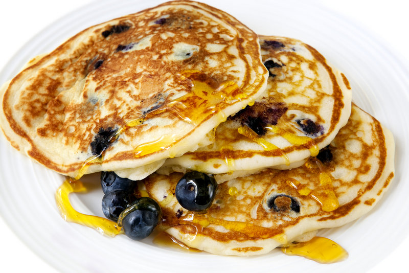 Some Maine blueberry festivals feature pancakes.