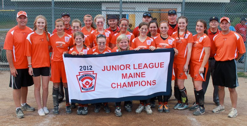 Biddeford's Junior League Softball all-stars swept a best-of-three series against Cape Elizabeth to win the state championship and qualify for the Eastern Regional, starting Friday in West Haven, Conn. Team members, from left to right: Front row – Cassidy Gonneville, Kaitlin Miniutti, Katelyn Gonneville, Aibhlin O'Connor, Amber Magnant, Charlotte White, Abbie Paquette and Mananger Ray Magnant. Back – Coaches Norm Moody and Logan Kadlec, Erin Martin, Cara Boisvert, Kirsten Lebreux, Alyssa Myles, Jocelyn Moody, Briana Collard and tournament umpires. Missing from picture – Jessica Laverriere.