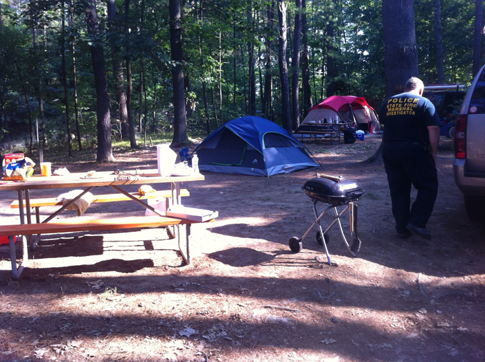 The Lebanon campsite where a 2-year-old fell into a fire pit on Sunday.