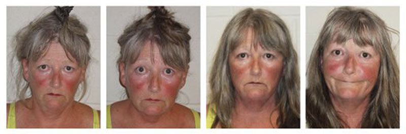 This series of booking photos, released by the Epping, N.H., Police Department, shows Joyce Coffey, arrested four times in 26 hours Tuesday and Wednesdsay, Aug. 29 and 30, 2012, for throwing a frying pan and blasting loud music from her Epping, N.H., home. (AP Photo/Epping Police Department)