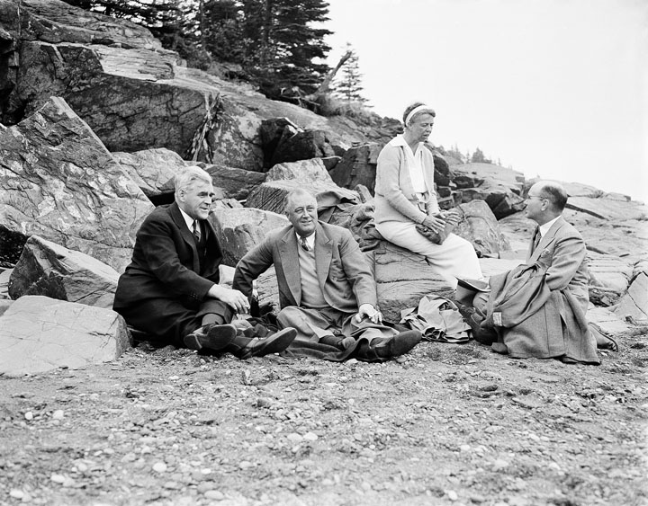 President Franklin D. Roosevelt and first lady Eleanor Roosevelt at a picnic on Campobello Island on July 30, 1936. Their guests were Allison Dysart, left, premier of New Brunswick, and J.B. McNair, right, attorney general of New Brunswick.