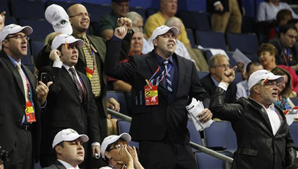 Delegates from Maine heckle during the presentation of the rules during the Republican National Convention in Tampa, Fla., on Tuesday.