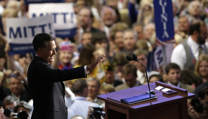 Presidential nominee Mitt Romney acknowledges delegates before speaking Thursday at the Republican National Convention in Tampa, Fla.