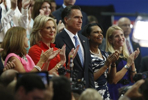 Republican presidential nominee Mitt Romney and his wife Ann applaud with Former Secretary of State Condoleezza Rice, second right, and Republican vice presidential nominee Rep. Paul Ryan's wife Janna, right, following New Jersey Governor Chris Christie's speech to the Republican National Convention in Tampa, Fla., on Tuesday, Aug. 28, 2012. (AP Photo/Jae C. Hong)