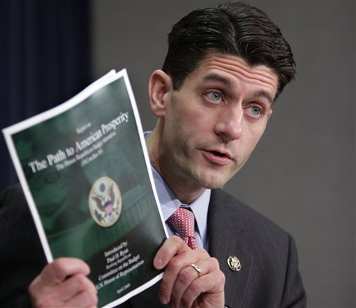 FILE - In this April 1, 2008, Rep. Paul Ryan, R-Wis., ranking Republican on the House Budget Committee, talks to media about an alternative Republican budget plan, The Path to American Prosperity, that he is promoting in the House. Throughout his rapid political ascent, to become chief architect of love-it or hate-it Republican budget policy, many of Ryan's Democratic adversaries have coupled criticism of his ideology with praise for his cordiality, diligence and thoughtfulness. (AP Photo/J. Scott Applewhite)