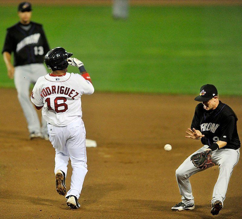 Reynaldo Rodriguez, who was running on the pitch, eludes a grounder Tuesday night during the Portland Sea Dogs' 1-0 victory over the Akron Aeros at Hadlock Field. Rodriguez was promoted to Triple-A Pawtucket after the game.