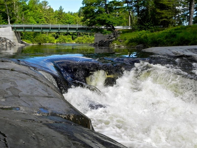 Water rushes from the lower portion of Earley Falls into Sebec Lake.
