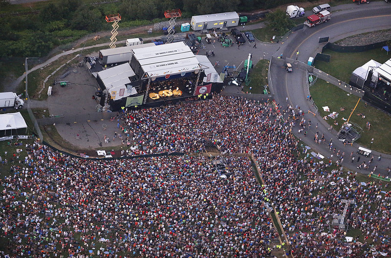 This aerial view captures the size of the crowd during the part of the concert when Mumford & Sons took the main stage Saturday night.