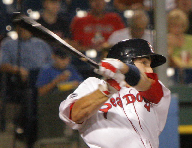 Travis Shaw of the Portland Sea Dogs connects on a double in the fourth inning Tuesday night, all part of an offense that, combined with strong pitching, produced a 13-2 victory against the Altoona Curve.