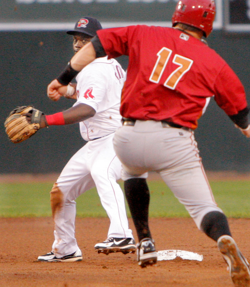 Marquez Smith of the Portland Sea Dogs turns to complete a double play after forcing Matt Curry of the Altoona Curve in the second inning.
