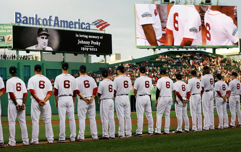 Johnny Pesky, who died Aug. 13 at age 92 following a career that lasted more than 60 years, was honored by the Boston Red Sox before the game. All of the players wore his No. 6. Pesky was a player, manager and broadcaster for the Red Sox.