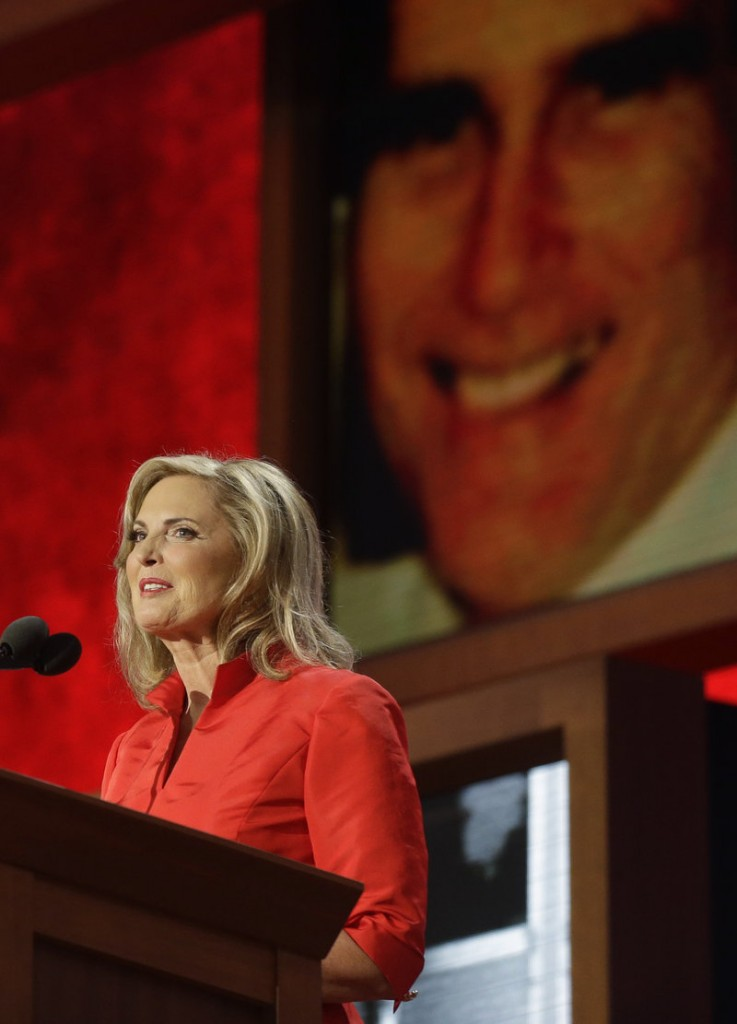 Ann Romney addresses the convention.