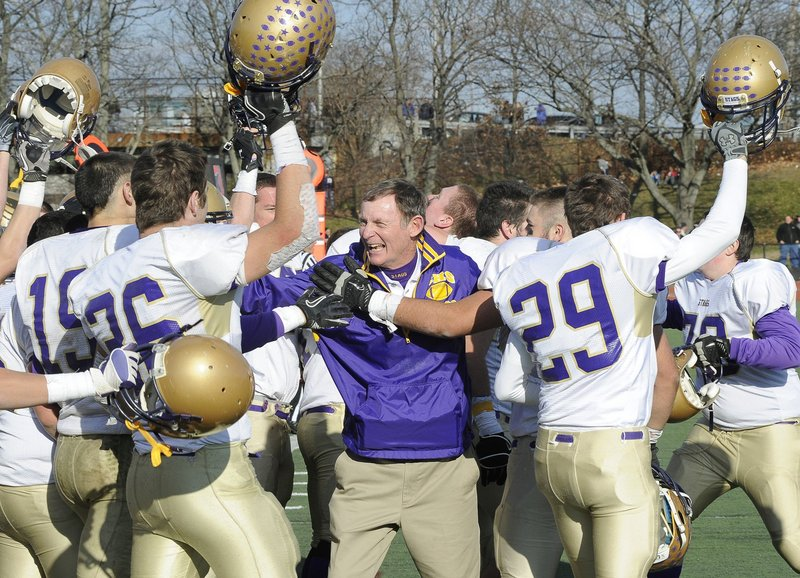 The scene has been familiar for Cheverus the past two seasons: Coach John Wolfgram surrounded by his players after an undefeated season capped by a state championship. The Stags will be threatened this year, especially by Thornton Academy, Windham and Bonny Eagle.