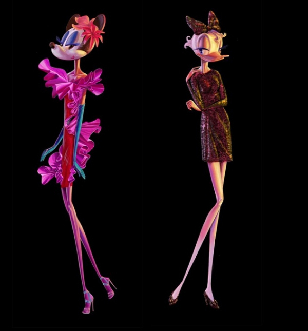 Barneys New York is using leggy supermodel versions of Minnie Mouse and other Disney characters for its annual holiday window display and ad campaign.