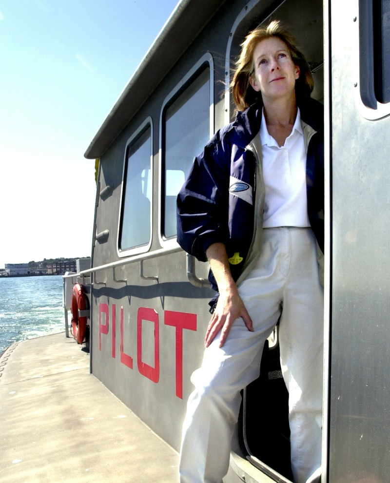 Susan Clark in 2005 aboard a pilot boat heading out of Portland Harbor to a waiting container ship. 2005 file photo by John Patriquin John Patriquin