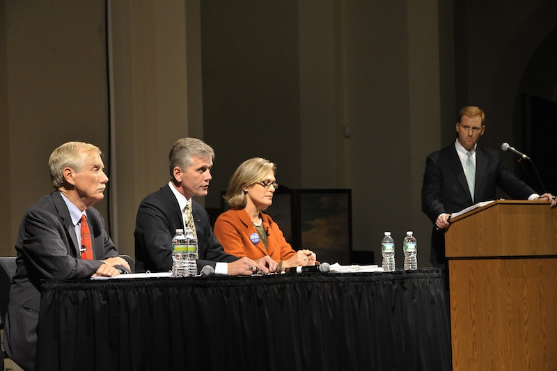 The first multimedia debate in the race for Maine's open U.S. Senate seat was held at the Franco American Heritage Center in Lewiston on Monday, Sept 17, 2012. Candidates from left: Angus King, Independent, Charlie Summers, Republican, and Cynthia Dill, Democratic.