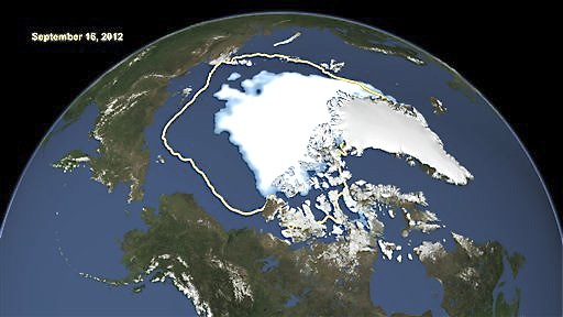 This image made available by NASA shows the amount of summer sea ice in the Arctic on Sunday, Sept. 16, 2012, at center in white, and the 1979 to 2000 average extent for the day shown, with the yellow line. Scientists say sea ice in the Arctic shrank to an all-time low of 1.32 million square miles on Sept. 16, 2012, smashing old records for the critical climate indicator.