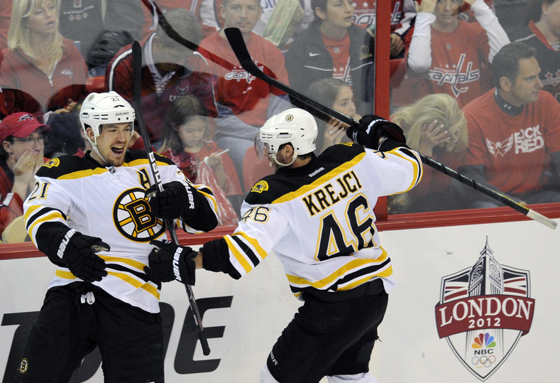 Bruins defenseman Andrew Ference (21) celebrates his goal with David Krejci (46) during Game 6 of the Stanley Cup first-round playoff series between Boston and the Washington Capitals in April.
