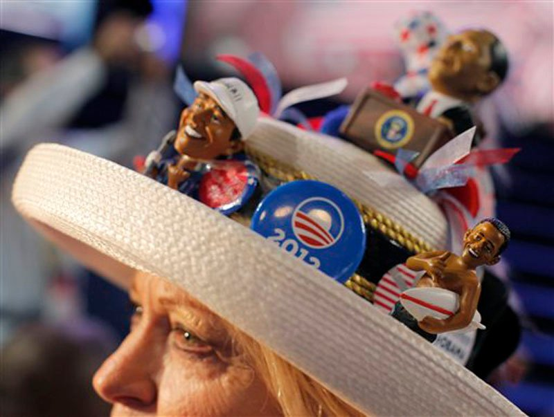 Mississippi delegate Joy Williams from Jackson fashions her hat at the Democratic National Convention in Charlotte, N.C., on Tuesday, Sept. 4, 2012. (AP Photo/Charles Dharapak)