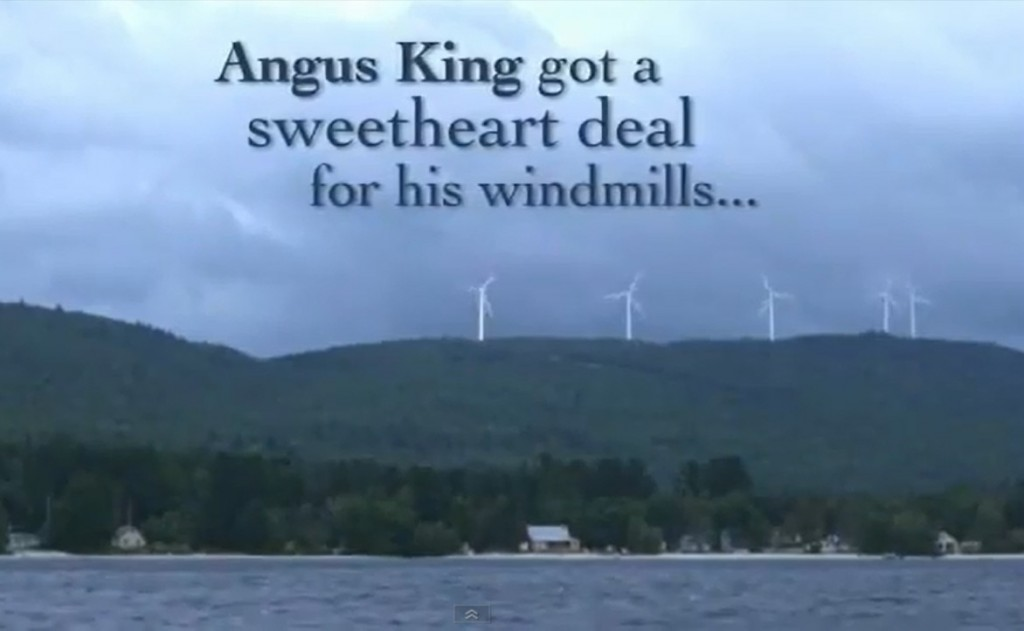 A still image from one of the ads, which Angus King's campaign has called 'deceptive' and containing inaccuracies. The campaign has asked TV stations to stop airing it.