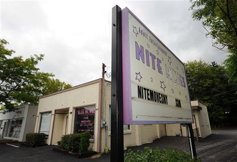 This Wednesday, Sept. 5, 2012 photo shows Nite Moves Gentlemenís club in Latham, N.Y., Wednesday Sept. 5, 2012. The New York strip club says its nude lap dances are an art form and should be exempt from state taxes. The state tax department and an appeals court disagree and want the Nite Moves club in Albany to pay $124,000. New York's highest court hears the arguments Wednesday. Tax officials say sales taxes are owed on so-called