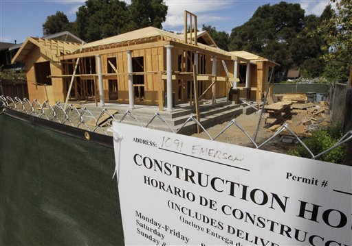 A new home is under construction in Palo Alto, Calif., recently. Builders report seeing the best sales level since July 2006, while turnout by prospective buyers has returned to levels not seen since May 2006.