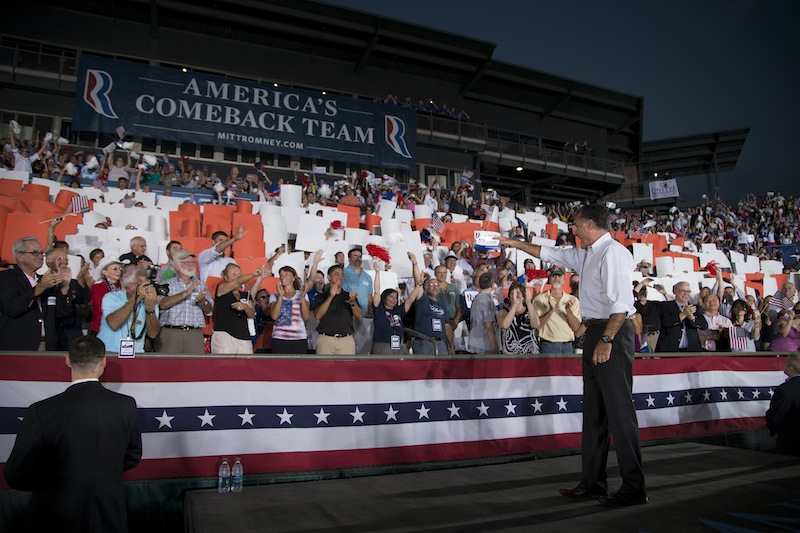 Republican presidential candidate, former Massachusetts Gov. Mitt Romney arrives for a campaign rally on Friday, Sept. 7, 2012 in Nashua, N.H. (AP Photo/Evan Vucci)