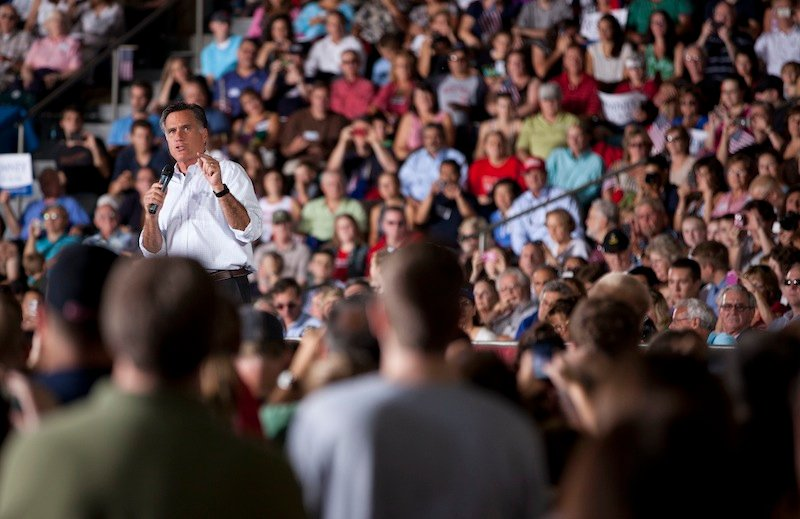 Republican presidential candidate, former Massachusetts Gov. Mitt Romney speaks during a campaign rally on Friday, Sept. 7, 2012 in Nashua, N.H. (AP Photo/Evan Vucci)