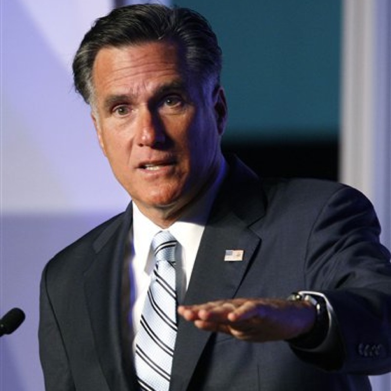 Republican presidential candidate and former Massachusetts Gov. Mitt Romney addresses the U.S. Hispanic Chamber of Commerce in Los Angeles, Monday, Sept. 17, 2012. (AP Photo/David McNew) celebrities;memorial;service;viewing;obituary;death;fans;movies;film;entertainment;actor