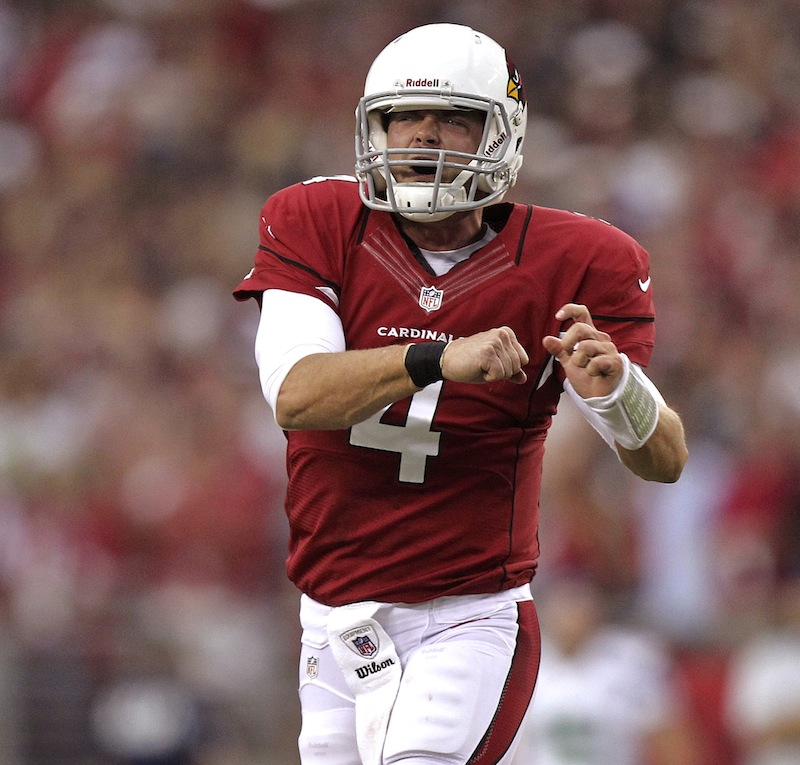 Arizona Cardinals quarterback Kevin Kolb (4) celebrates his toudhdown pass against the Seattle Seahawks during the second half of an NFL football game, Sunday, Sept. 9, 2012, in Glendale, Ariz. Kolb replaced John Skelton, who was injured and left the game. (AP Photo/Paul Connors)