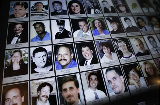 Electronic images of victims of the attacks of Sept. 11, 2001, part of a future touch-screen display, are shown during a news conference, Monday in New York. On the eve of the Sept. 11 anniversary, the faces and recorded voices of those who died were unveiled as part of the future 9/11 Memorial Museum.