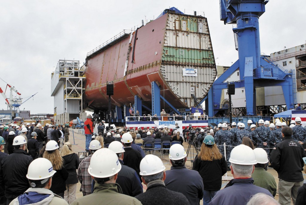 Bath Iron Works holds a keel laying ceremony Thursday to mark the completion of the first hull segment of the future USS Zumwal in Bath. The Zumwalt is the biggest Navy ship built in Bath since delivery of an oil tanker to the Military Sealift Command in 1984.