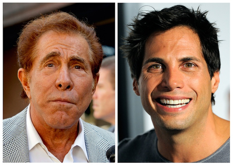 This photo combination of file photos shows casino mogul Steve Wynn, left, in Los Angeles, and