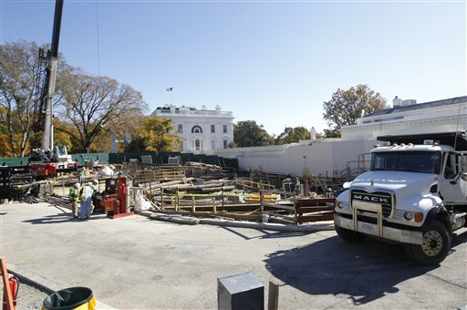In this Nov. 9, 2011, photo, construction continues in front of the West Wing at the White House in Washington.