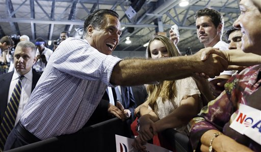 Republican presidential candidate and former Massachusetts Gov. Mitt Romney campaigns at a rally at Darwin Fuchs Pavilion in Miami, Wednesday, Sept. 19, 2012. (AP Photo/Charles Dharapak)