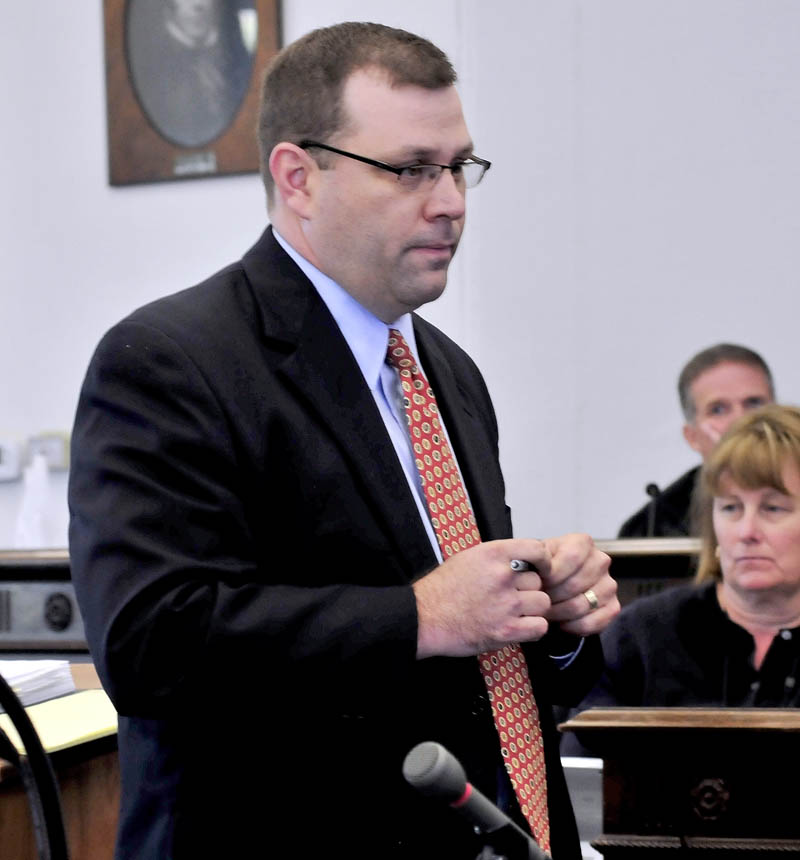 Defense attorney John Martin speaks with jurors during the trial of his client Jay Mercier in Somerset County Superior Court in Skowhegan on Thursday.