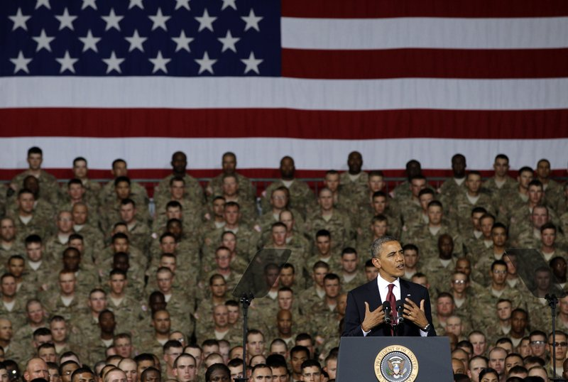 President Obama speaks to troops, service members and military families Friday at the 1st Aviation Support Battalion Hangar at Fort Bliss in El Paso, Texas. Democrats are seen as having an advantage on national security issues this year.