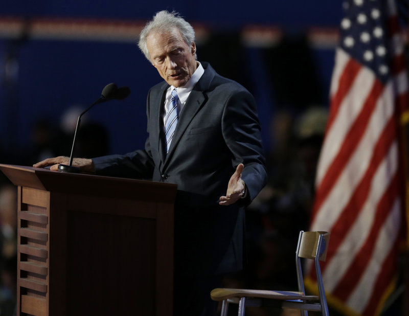 Clint Eastwood addresses an invisible President Obama at the Republican National Convention last week. Obama says he's still a huge fan of the actor.