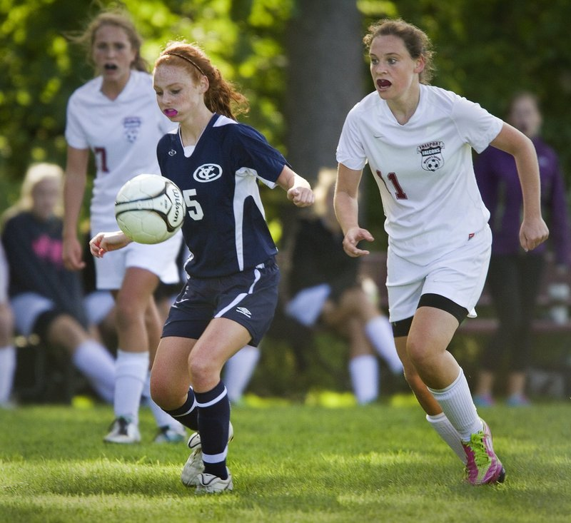 Megan Decker of Yarmouth has the ability to play in midfield as well as direct the Clippers' offense from the back.