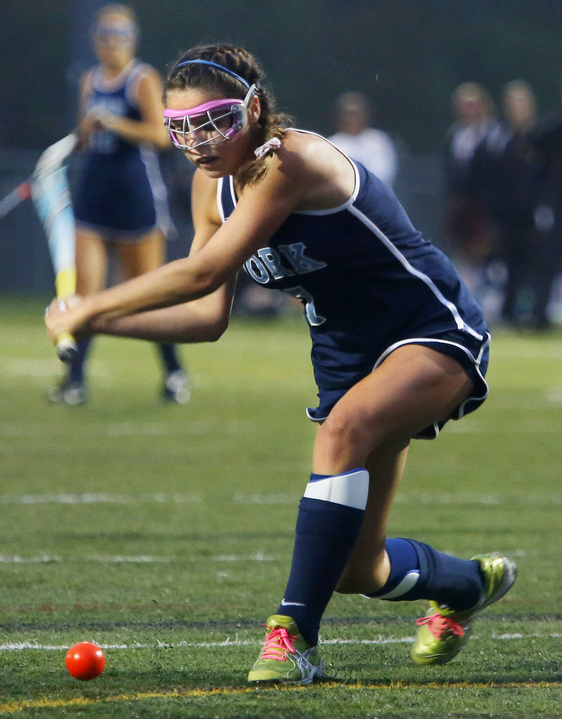 Taylor Simpson of York winds up to unleash a shot Tuesday. She scored the only goal in the victory against Cape Elizabeth.