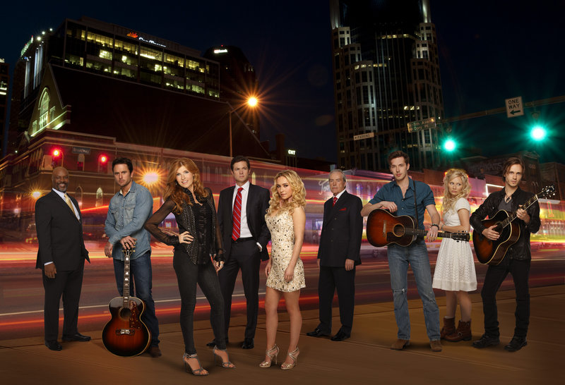 "From left, Robert Wisdom, Charles Esten, Connie Britton, Eric Close, Hayden Panettiere, Powers Boothe, Sam Palladio, Clare Bowen and Jonathan Jackson in ABC's ""Nashville."""
