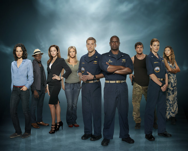 "From left, Camille de Pazzis, Sahr Ngaujah, Autumn Reeser, Jessy Schram, Scott Speedman, Andre Braugher, Daniel Lissing, Daisy Betts and Dichen Lachman in ABC's ""Last Resort."""