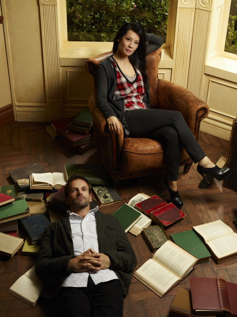 "Jonny Lee Miller and Lucy Liu as Holmes and Watson in CBS's ""Elementary"""
